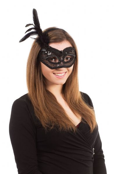 Black Transparent + Feathers Eyemask Masquerade Ball Eye-Mask Eye Mask Craft
